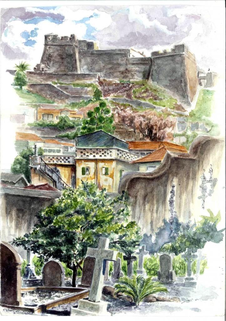 Vue du Forte do pico ( depuis le cimetière Anglais) cimetiere